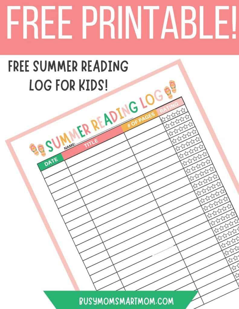summer reading log for kids printable