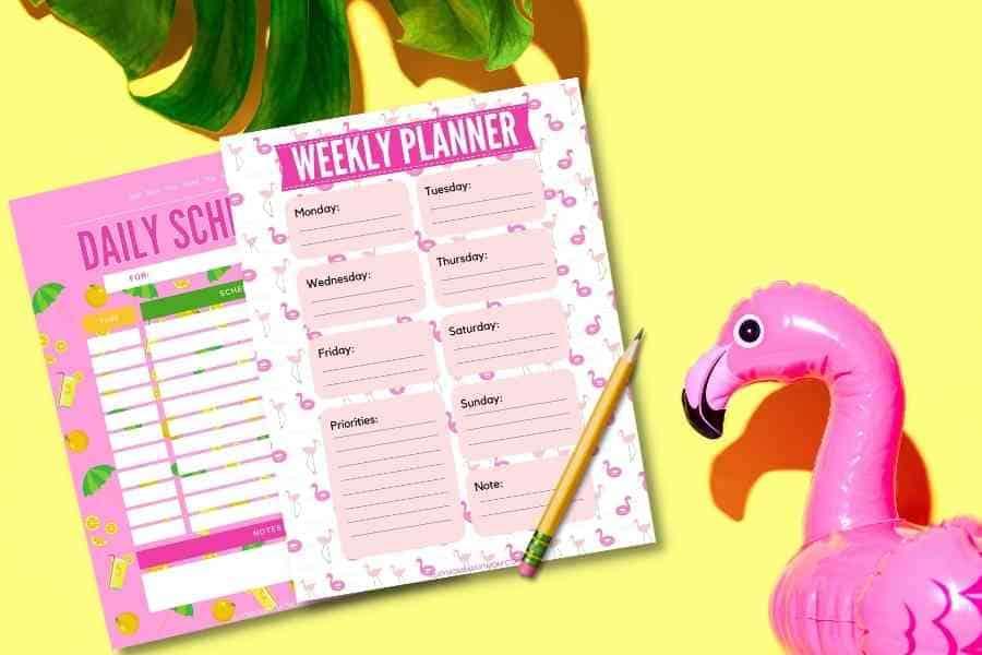 summer schedule for kids printables