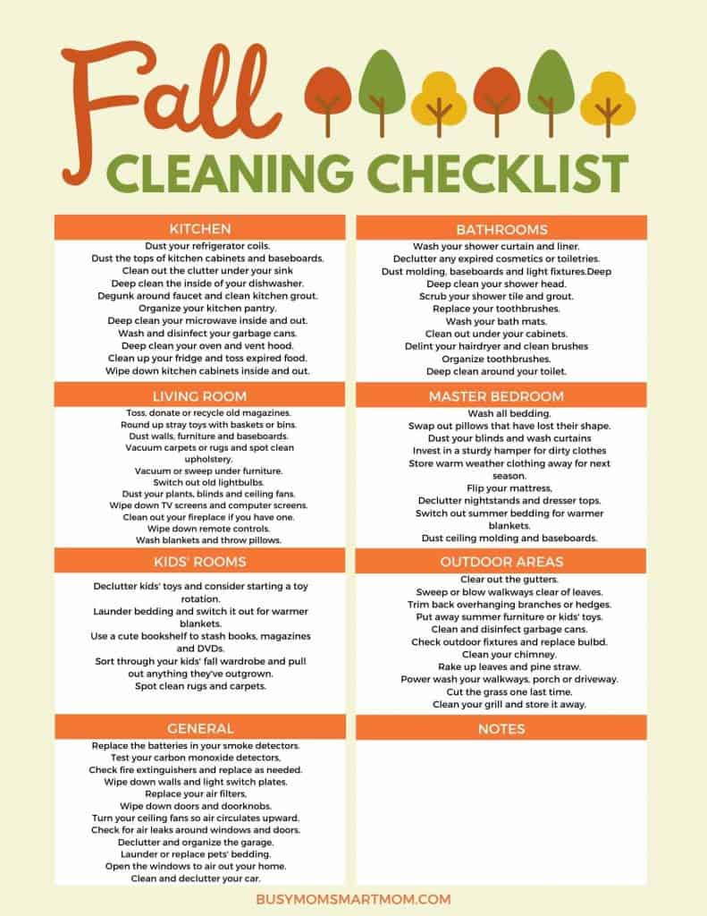fall checklist cleaning printable