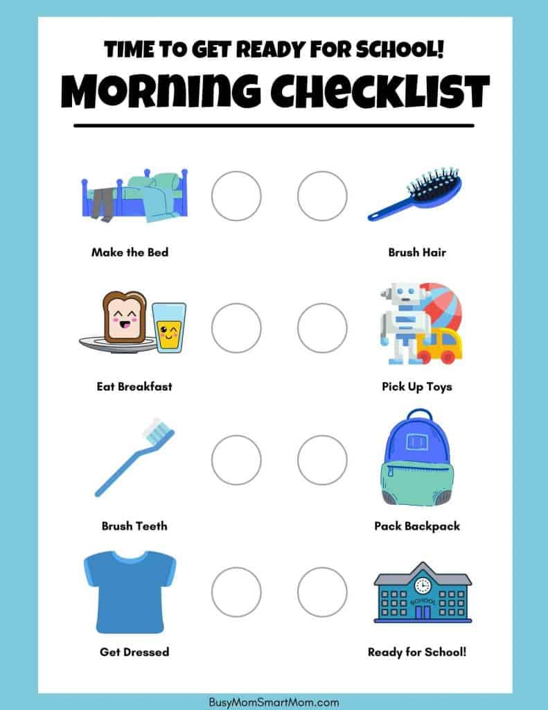 morning routine checklist printables