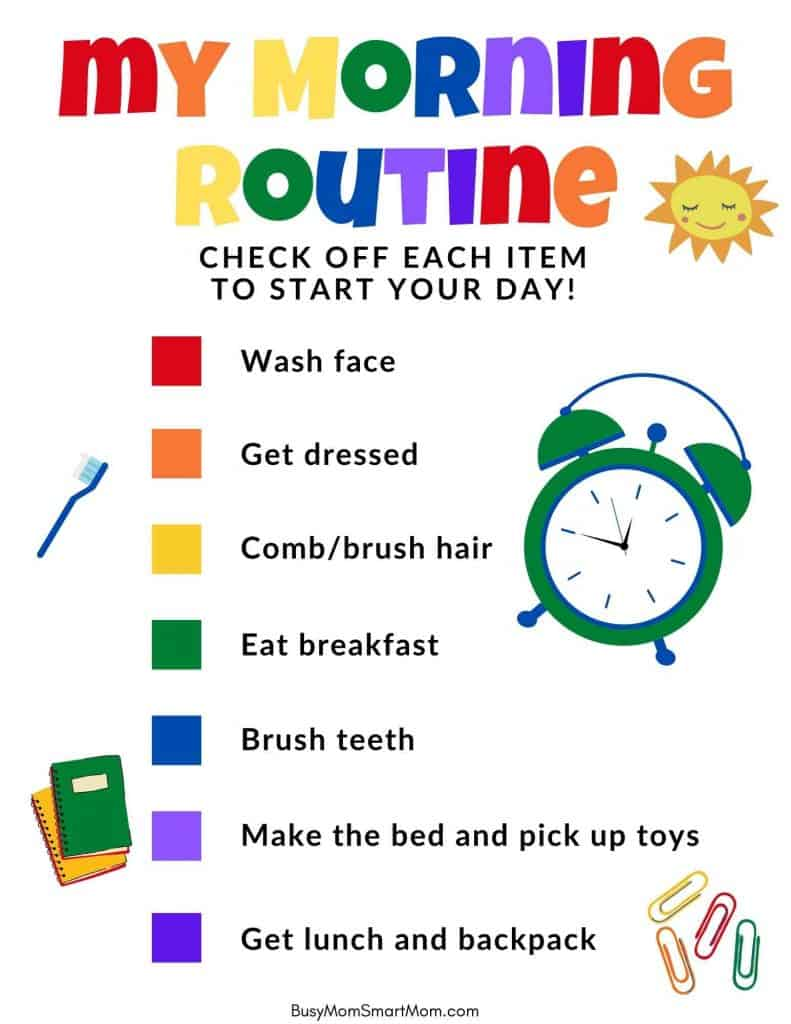 morning routine printable for kids